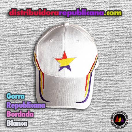 Gorra Republicana Bordada Blanca