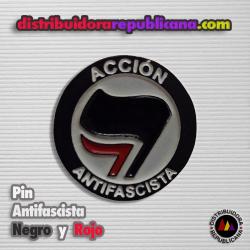 Pin Antifascista Negro y Rojo